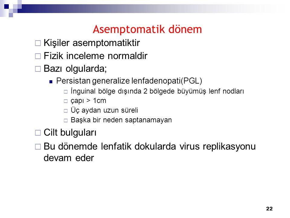 22 Asemptomatik dönem  Kişiler asemptomatiktir  Fizik inceleme normaldir  Bazı olgularda;  Persistan generalize lenfadenopati(PGL)  İnguinal bölg
