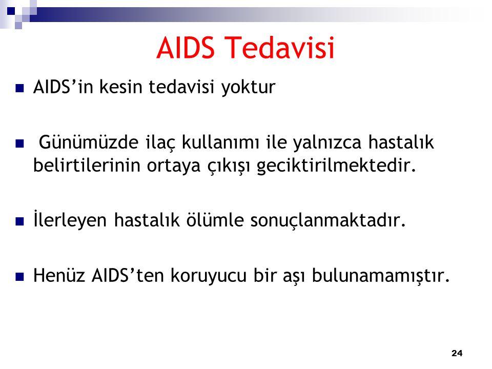 24 AIDS Tedavisi  AIDS'in kesin tedavisi yoktur  Günümüzde ilaç kullanımı ile yalnızca hastalık belirtilerinin ortaya çıkışı geciktirilmektedir.  İ