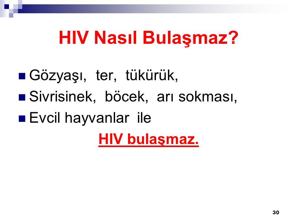 30 HIV Nasıl Bulaşmaz?  Gözyaşı, ter, tükürük,  Sivrisinek, böcek, arı sokması,  Evcil hayvanlar ile HIV bulaşmaz.