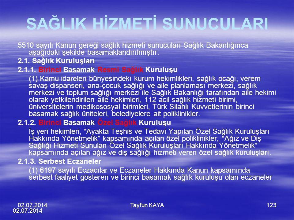 02.07.2014 Tayfun KAYA123 SAĞLIK HİZMETİ SUNUCULARI 5510 sayılı Kanun gereği sağlık hizmeti sunucuları Sağlık Bakanlığınca aşağıdaki şekilde basamakla