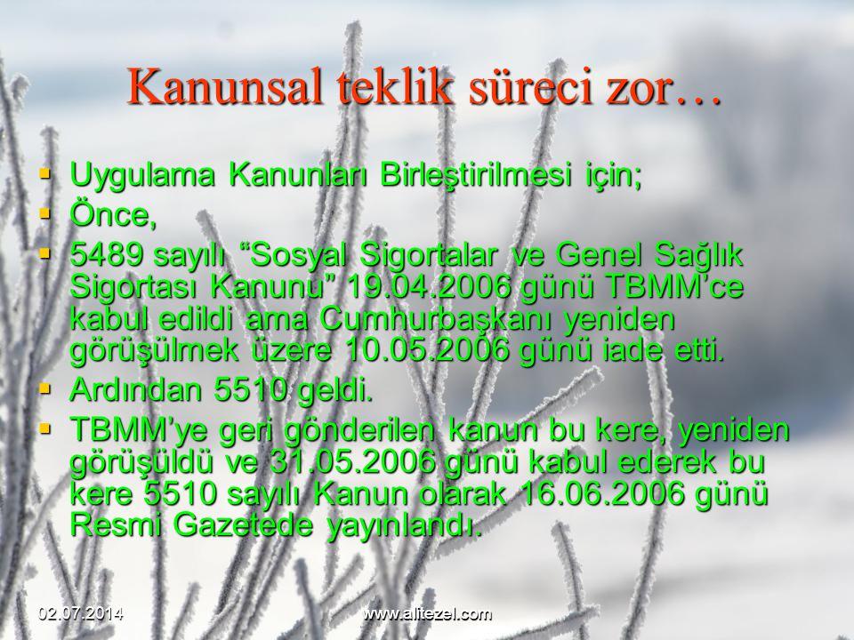 """02.07.2014www.alitezel.comwww.alitezel.com Kanunsal teklik süreci zor…  Uygulama Kanunları Birleştirilmesi için;  Önce,  5489 sayılı """"Sosyal Sigort"""