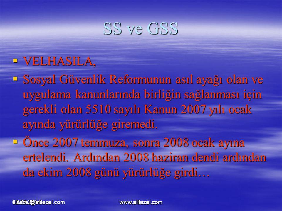 02.07.2014www.alitezel.comalitezel@alitezel.comwww.alitezel.com SS ve GSS  VELHASILA,  Sosyal Güvenlik Reformunun asıl ayağı olan ve uygulama kanunl