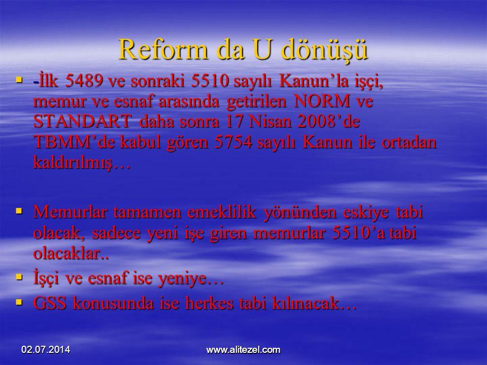 02.07.2014www.alitezel.comwww.alitezel.com Reform da U dönüşü  -İlk 5489 ve sonraki 5510 sayılı Kanun'la işçi, memur ve esnaf arasında getirilen NORM