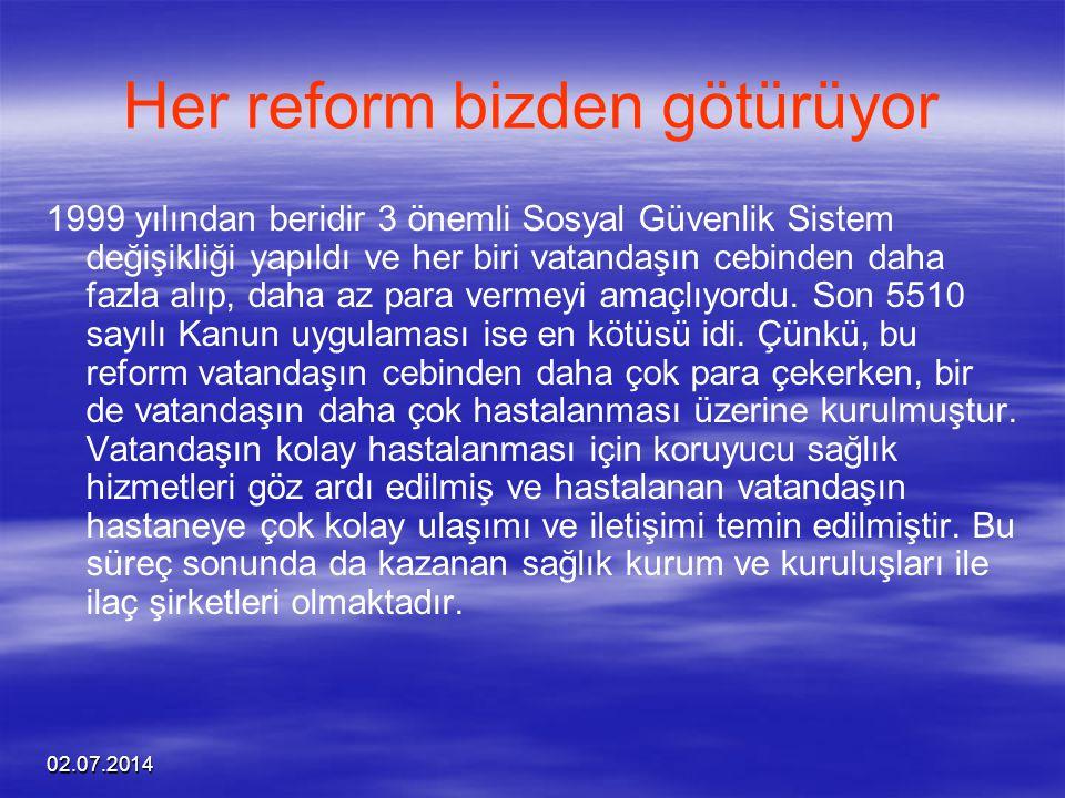 02.07.2014 Her reform bizden götürüyor 1999 yılından beridir 3 önemli Sosyal Güvenlik Sistem değişikliği yapıldı ve her biri vatandaşın cebinden daha