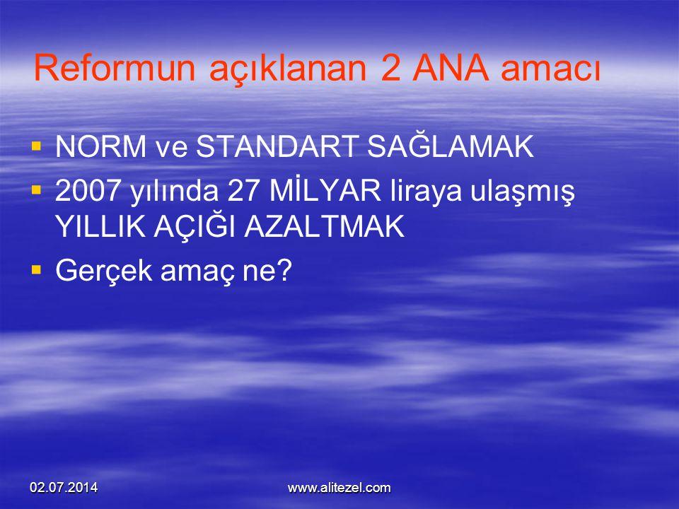 02.07.2014www.alitezel.com Reformun açıklanan 2 ANA amacı   NORM ve STANDART SAĞLAMAK   2007 yılında 27 MİLYAR liraya ulaşmış YILLIK AÇIĞI AZALTMA