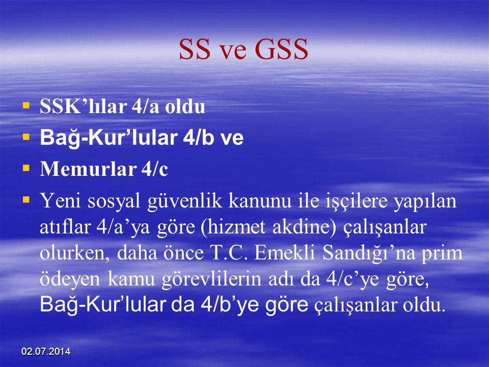 02.07.2014 SS ve GSS   SSK'lılar 4/a oldu   Bağ-Kur'lular 4/b ve   Memurlar 4/c   Yeni sosyal güvenlik kanunu ile işçilere yapılan atıflar 4/a