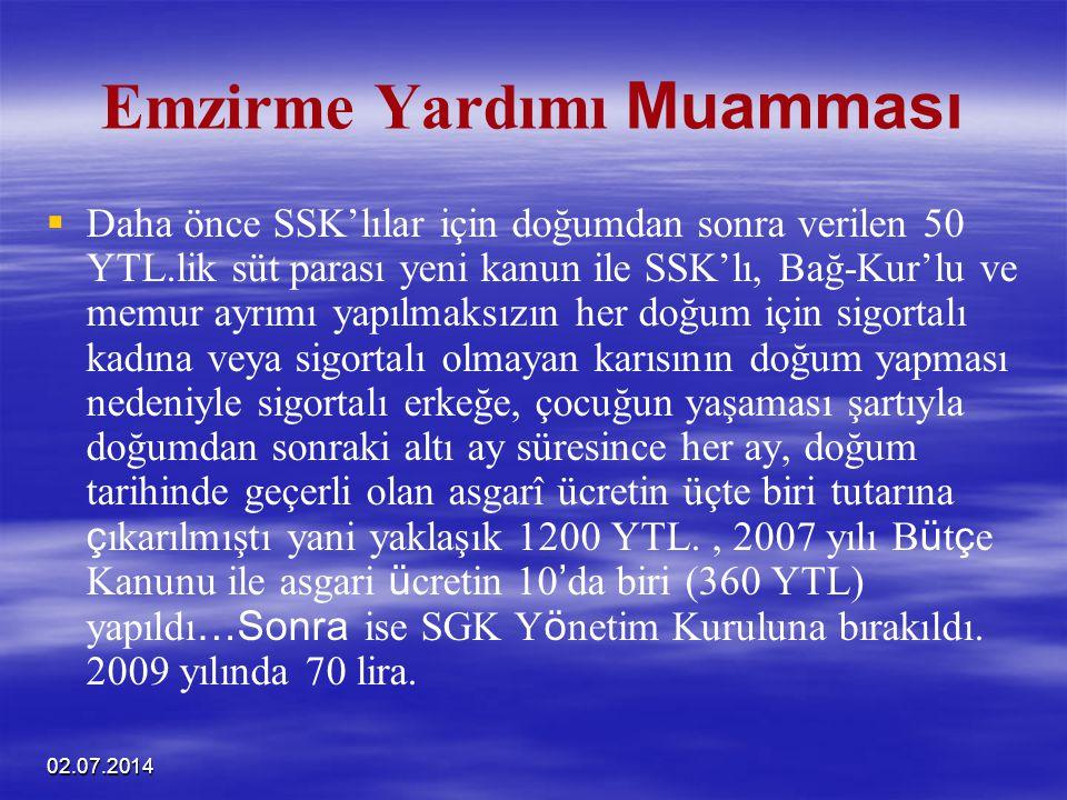02.07.2014 Emzirme Yardımı Muamması   Daha önce SSK'lılar için doğumdan sonra verilen 50 YTL.lik süt parası yeni kanun ile SSK'lı, Bağ-Kur'lu ve mem