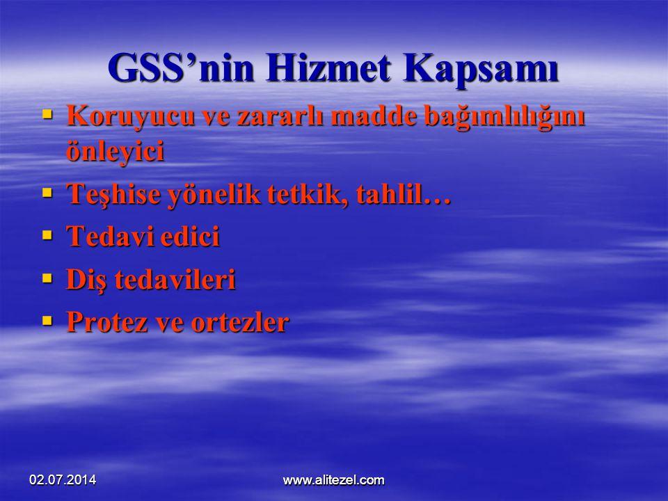02.07.2014www.alitezel.comwww.alitezel.com GSS'nin Hizmet Kapsamı  Koruyucu ve zararlı madde bağımlılığını önleyici  Teşhise yönelik tetkik, tahlil…