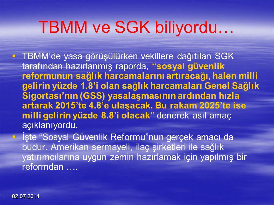 """02.07.2014 TBMM ve SGK biliyordu…   TBMM'de yasa görüşülürken vekillere dağıtılan SGK tarafından hazırlanmış raporda, """"sosyal güvenlik reformunun sa"""