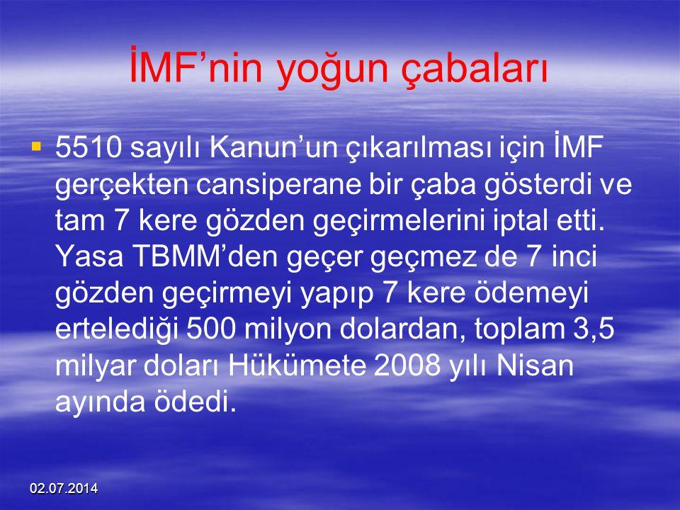 02.07.2014 İMF'nin yoğun çabaları   5510 sayılı Kanun'un çıkarılması için İMF gerçekten cansiperane bir çaba gösterdi ve tam 7 kere gözden geçirmele