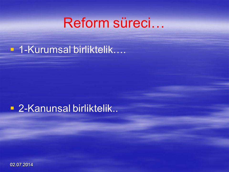 02.07.2014 Reform süreci…   1-Kurumsal birliktelik….   2-Kanunsal birliktelik..