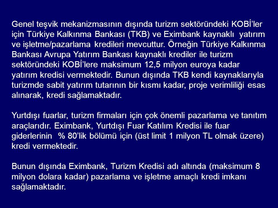 Genel teşvik mekanizmasının dışında turizm sektöründeki KOBİ'ler için Türkiye Kalkınma Bankası (TKB) ve Eximbank kaynaklı yatırım ve işletme/pazarlama