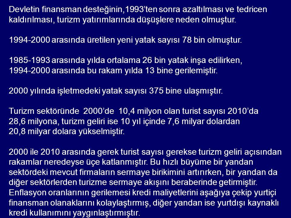 Temmuz 2009'da uygulamaya giren yeni teşvik sistemi, yatırımların geri dönüş sürelerini kısaltarak özellikle Anadolu'da turizm yatırımlarının artmasında kilit faktör olmuştur.