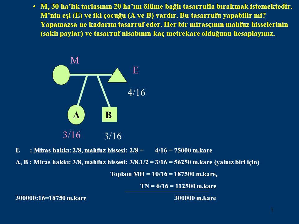 1 •M, 30 ha'lık tarlasının 20 ha'ını ölüme bağlı tasarrufla bırakmak istemektedir. M'nin eşi (E) ve iki çocuğu (A ve B) vardır. Bu tasarrufu yapabilir