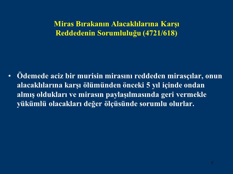 9 Miras Bırakanın Alacaklılarına Karşı Reddedenin Sorumluluğu (4721/618) •Ödemede aciz bir murisin mirasını reddeden mirasçılar, onun alacaklılarına k