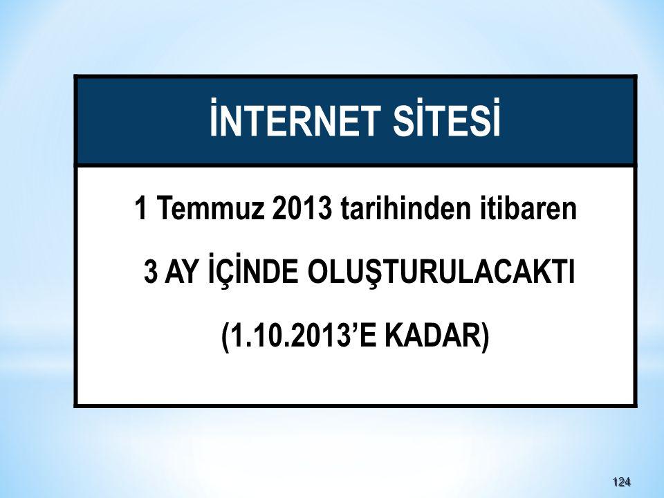 124124 İNTERNET SİTESİ 1 Temmuz 2013 tarihinden itibaren 3 AY İÇİNDE OLUŞTURULACAKTI (1.10.2013'E KADAR)