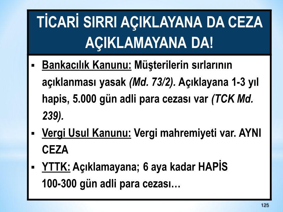 125125 TİCARİ SIRRI AÇIKLAYANA DA CEZA AÇIKLAMAYANA DA.