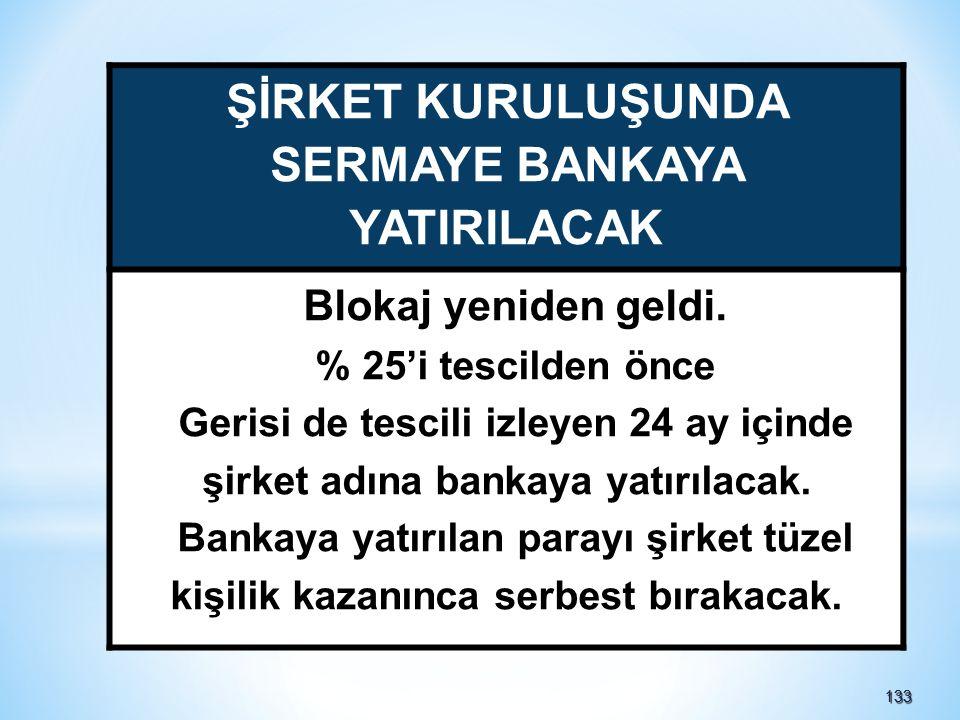 133133 ŞİRKET KURULUŞUNDA SERMAYE BANKAYA YATIRILACAK Blokaj yeniden geldi.