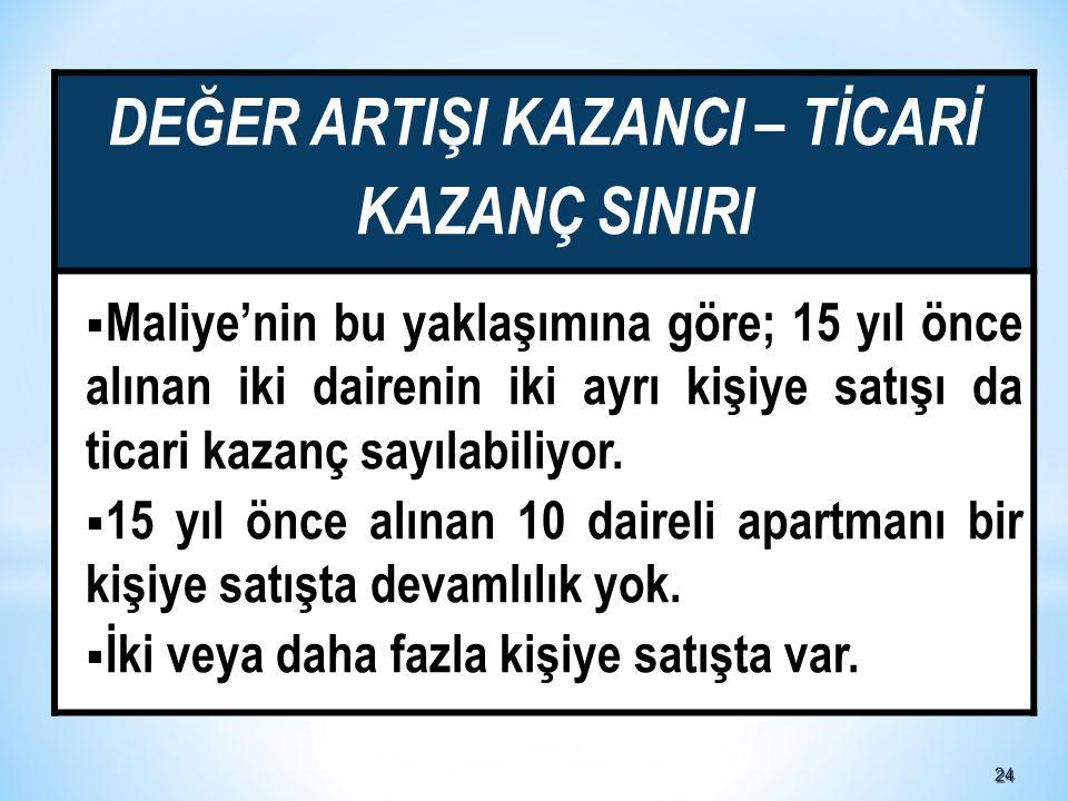 2424 DEĞER ARTIŞI KAZANCI – TİCARİ KAZANÇ SINIRI  Maliye'nin bu yaklaşımına göre; 15 yıl önce alınan iki dairenin iki ayrı kişiye satışı da ticari kazanç sayılabiliyor.