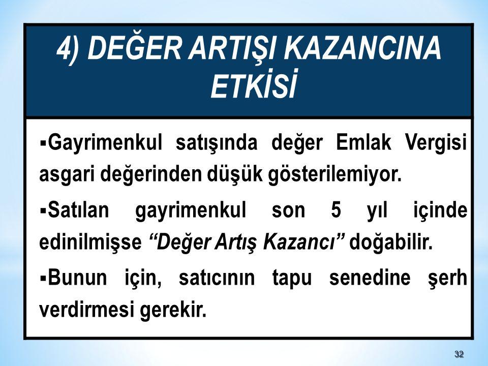 3232 4) DEĞER ARTIŞI KAZANCINA ETKİSİ  Gayrimenkul satışında değer Emlak Vergisi asgari değerinden düşük gösterilemiyor.