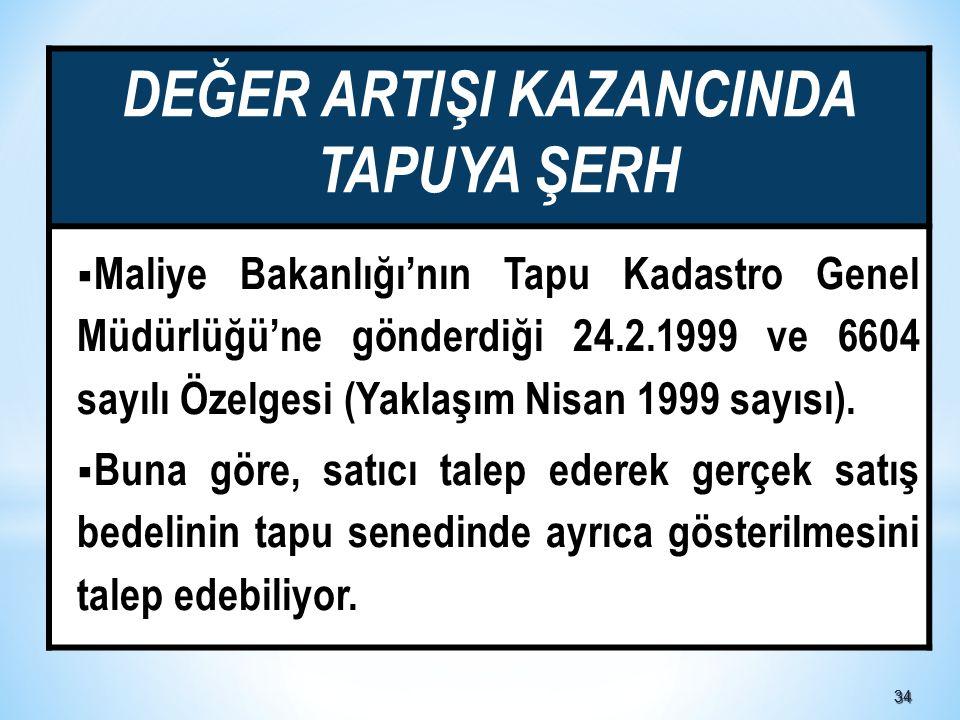 3434 DEĞER ARTIŞI KAZANCINDA TAPUYA ŞERH  Maliye Bakanlığı'nın Tapu Kadastro Genel Müdürlüğü'ne gönderdiği 24.2.1999 ve 6604 sayılı Özelgesi (Yaklaşım Nisan 1999 sayısı).