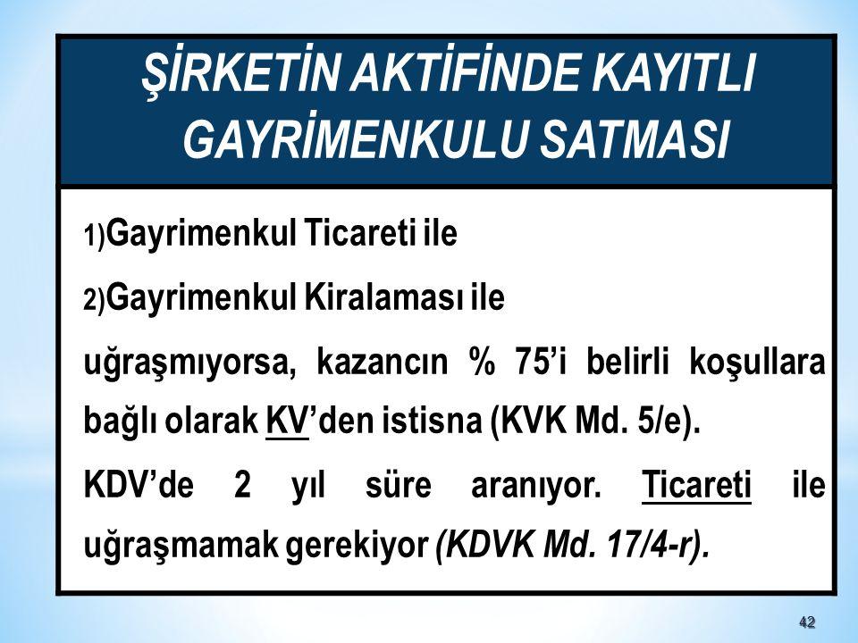 4242 ŞİRKETİN AKTİFİNDE KAYITLI GAYRİMENKULU SATMASI 1) Gayrimenkul Ticareti ile 2) Gayrimenkul Kiralaması ile uğraşmıyorsa, kazancın % 75'i belirli koşullara bağlı olarak KV'den istisna (KVK Md.