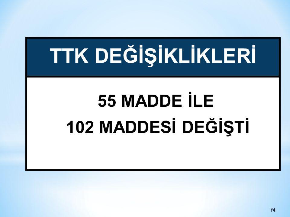 7474 TTK DEĞİŞİKLİKLERİ 55 MADDE İLE 102 MADDESİ DEĞİŞTİ