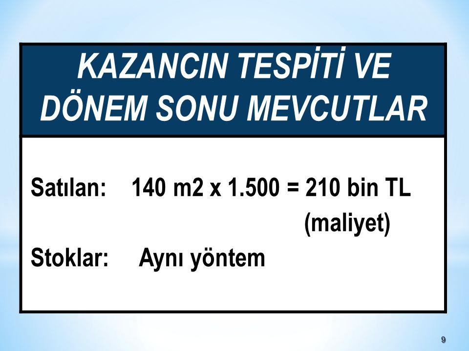99 KAZANCIN TESPİTİ VE DÖNEM SONU MEVCUTLAR Satılan: 140 m2 x 1.500 = 210 bin TL (maliyet) Stoklar: Aynı yöntem