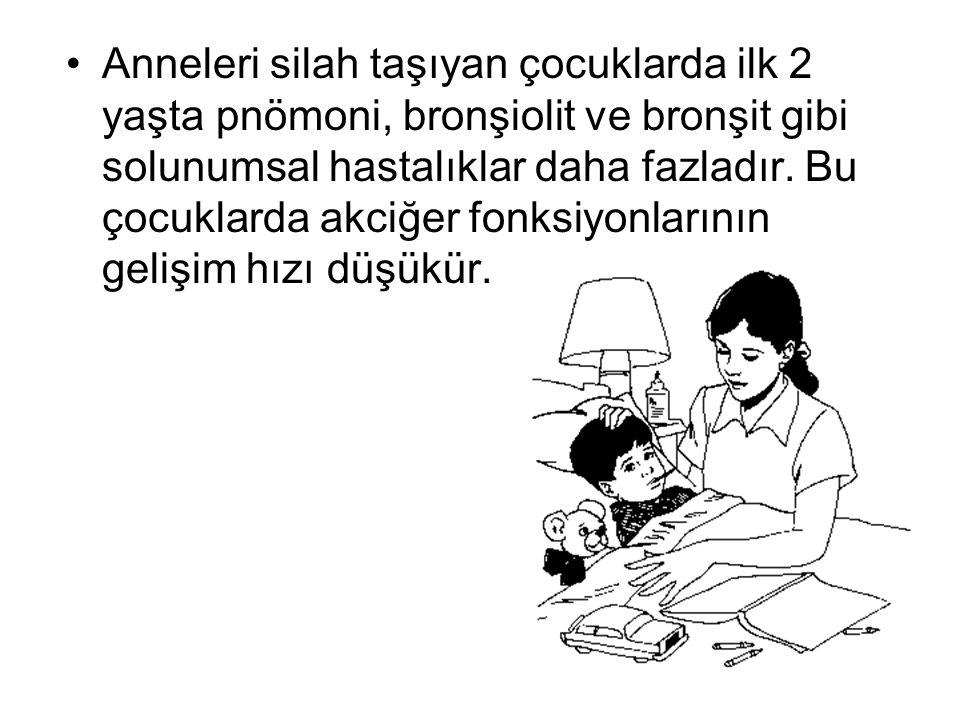 •Anneleri silah taşıyan çocuklarda ilk 2 yaşta pnömoni, bronşiolit ve bronşit gibi solunumsal hastalıklar daha fazladır. Bu çocuklarda akciğer fonksiy