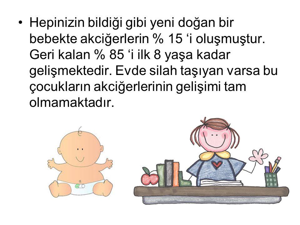 •Hepinizin bildiği gibi yeni doğan bir bebekte akciğerlerin % 15 'i oluşmuştur. Geri kalan % 85 'i ilk 8 yaşa kadar gelişmektedir. Evde silah taşıyan