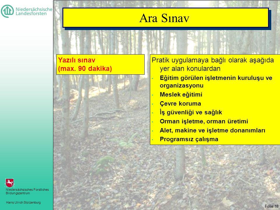 Hans Ulrich Stolzenburg Niedersächsisches Forstliches Bildungszentrum Folie:18 Pratik uygulamaya bağlı olarak aşağıda yer alan konulardan • Eğitim görülen işletmenin kuruluşu ve organizasyonu • Meslek eğitimi • Çevre koruma • İş güvenliği ve sağlık • Orman işletme, orman üretimi • Alet, makine ve işletme donanımları • Programsız çalışma Yazılı sınav (max.