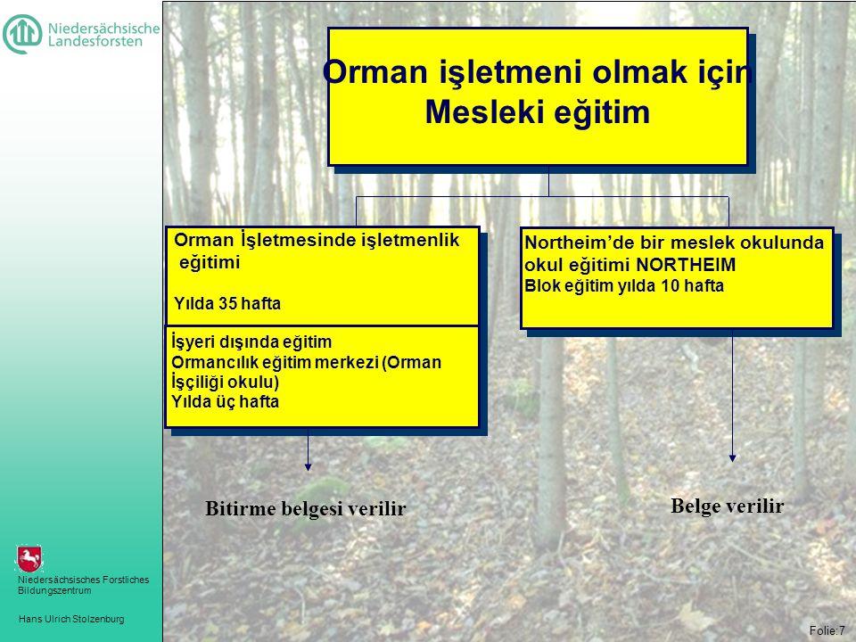 Hans Ulrich Stolzenburg Niedersächsisches Forstliches Bildungszentrum Folie:7 Orman işletmeni olmak için Mesleki eğitim Orman İşletmesinde işletmenlik eğitimi Yılda 35 hafta İşyeri dışında eğitim Ormancılık eğitim merkezi (Orman İşçiliği okulu) Yılda üç hafta Northeim'de bir meslek okulunda okul eğitimi NORTHEIM Blok eğitim yılda 10 hafta Bitirme belgesi verilir Belge verilir