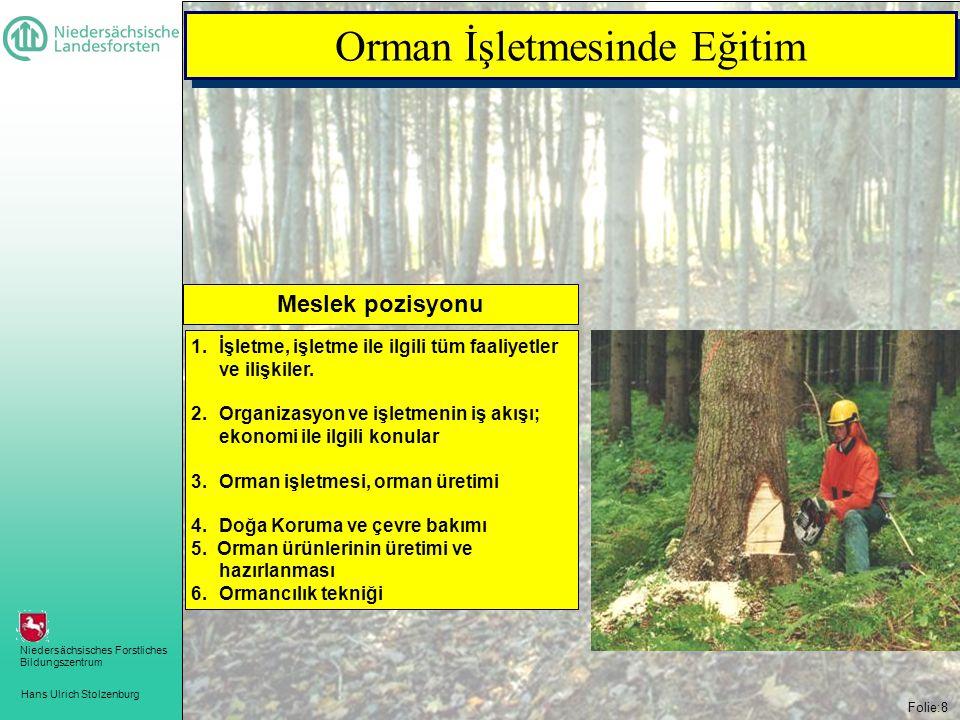 Hans Ulrich Stolzenburg Niedersächsisches Forstliches Bildungszentrum Folie:8 Orman İşletmesinde Eğitim 1.İşletme, işletme ile ilgili tüm faaliyetler ve ilişkiler.