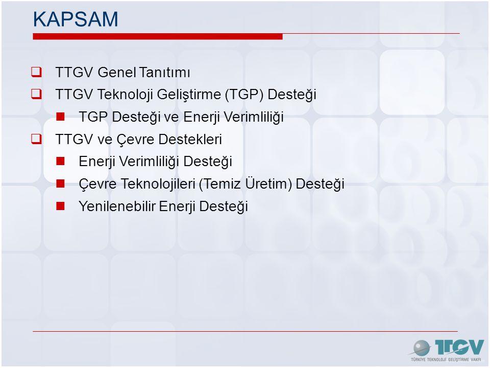KAPSAM  TTGV Genel Tanıtımı  TTGV Teknoloji Geliştirme (TGP) Desteği  TGP Desteği ve Enerji Verimliliği  TTGV ve Çevre Destekleri  Enerji Verimliliği Desteği  Çevre Teknolojileri (Temiz Üretim) Desteği  Yenilenebilir Enerji Desteği