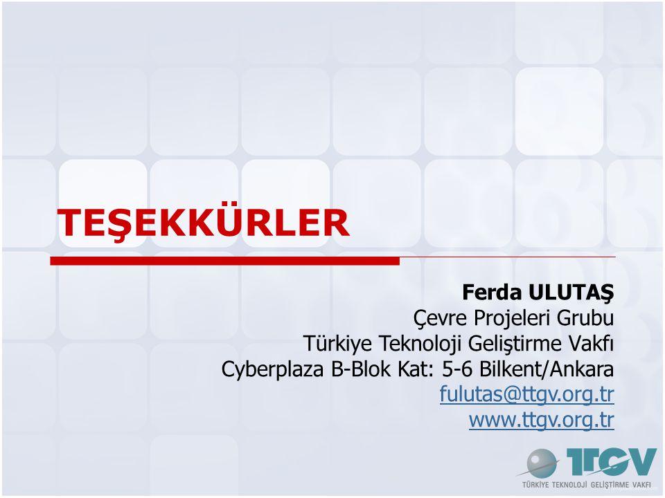 TEŞEKKÜRLER Ferda ULUTAŞ Çevre Projeleri Grubu Türkiye Teknoloji Geliştirme Vakfı Cyberplaza B-Blok Kat: 5-6 Bilkent/Ankara fulutas@ttgv.org.tr www.ttgv.org.tr