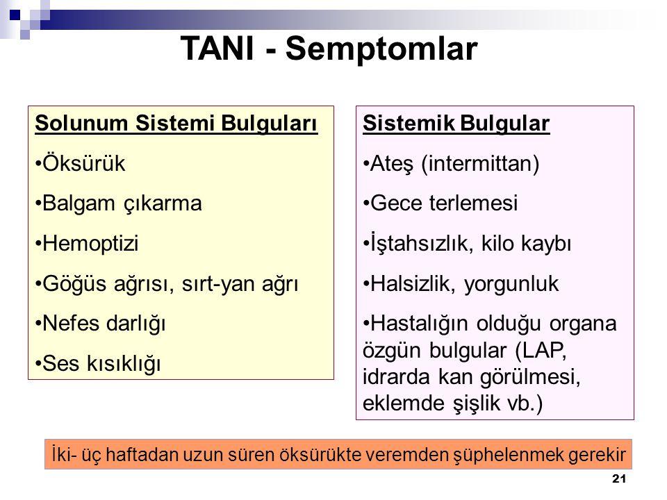 21 TANI - Semptomlar Solunum Sistemi Bulguları •Öksürük •Balgam çıkarma •Hemoptizi •Göğüs ağrısı, sırt-yan ağrı •Nefes darlığı •Ses kısıklığı Sistemik