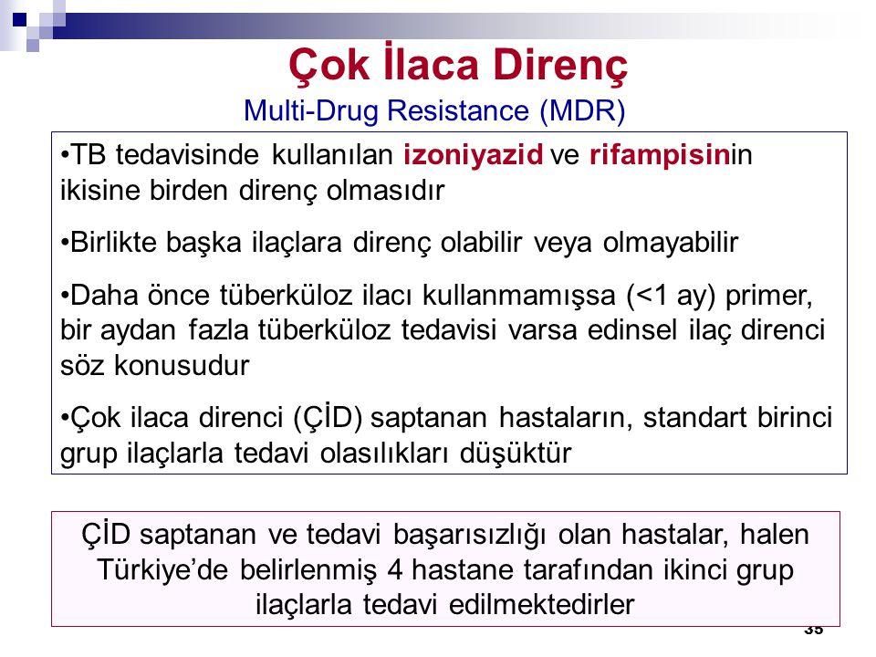 35 Çok İlaca Direnç Multi-Drug Resistance (MDR) •TB tedavisinde kullanılan izoniyazid ve rifampisinin ikisine birden direnç olmasıdır •Birlikte başka