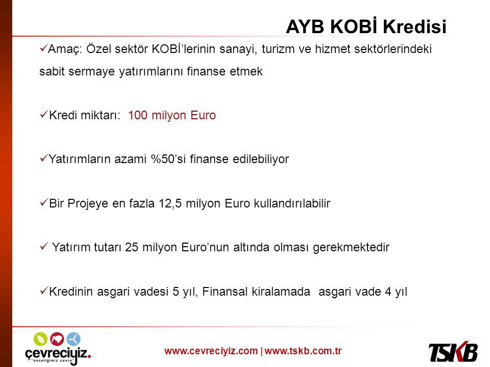 www.cevreciyiz.com | www.tskb.com.tr  Amaç: Özel sektör KOBİ'lerinin sanayi, turizm ve hizmet sektörlerindeki sabit sermaye yatırımlarını finanse etm