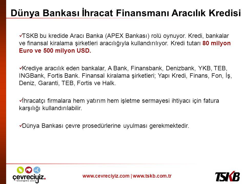 www.cevreciyiz.com | www.tskb.com.tr Dünya Bankası İhracat Finansmanı Aracılık Kredisi  TSKB bu kredide Aracı Banka (APEX Bankası) rolü oynuyor. Kred