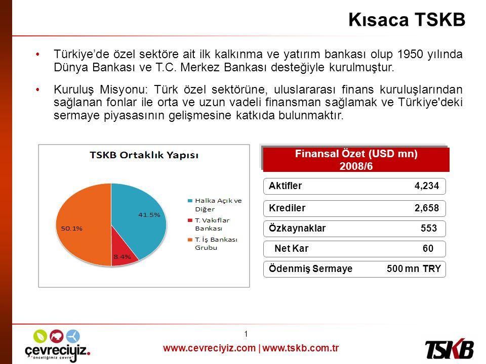 www.cevreciyiz.com | www.tskb.com.tr Kısaca TSKB •Türkiye'de özel sektöre ait ilk kalkınma ve yatırım bankası olup 1950 yılında Dünya Bankası ve T.C.