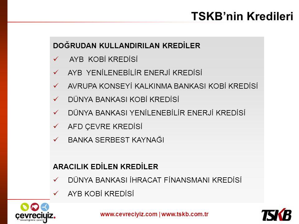 www.cevreciyiz.com | www.tskb.com.tr TSKB'nin Kredileri DOĞRUDAN KULLANDIRILAN KREDİLER  AYB KOBİ KREDİSİ  AYB YENİLENEBİLİR ENERJİ KREDİSİ  AVRUPA