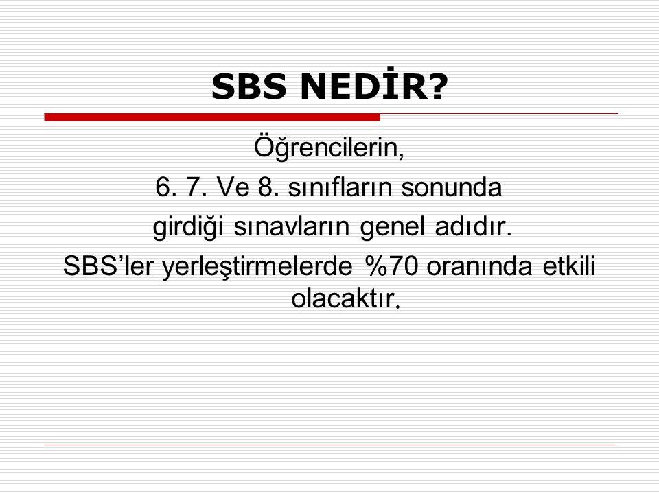 SBS NEDİR? Öğrencilerin, 6. 7. Ve 8. sınıfların sonunda girdiği sınavların genel adıdır. SBS'ler yerleştirmelerde %70 oranında etkili olacaktır.