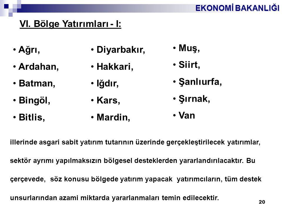 EKONOMİ BAKANLIĞI 20 • Ağrı, • Ardahan, • Batman, • Bingöl, • Bitlis, • Diyarbakır, • Hakkari, • Iğdır, • Kars, • Mardin, • Muş, • Siirt, • Şanlıurfa,