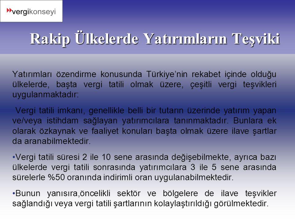 Rakip Ülkelerde Yatırımların Teşviki Yatırımları özendirme konusunda Türkiye'nin rekabet içinde olduğu ülkelerde, başta vergi tatili olmak üzere, çeşi