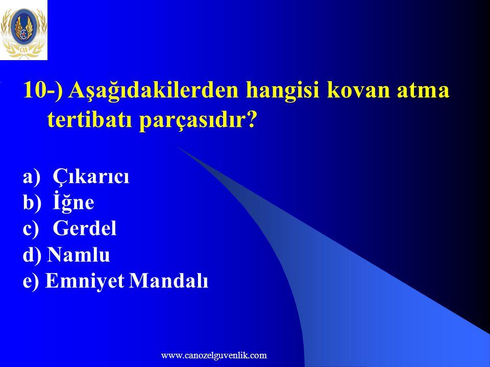 www.canozelguvenlik.com 10-) Aşağıdakilerden hangisi kovan atma tertibatı parçasıdır? a) Çıkarıcı b) İğne c) Gerdel d) Namlu e) Emniyet Mandalı
