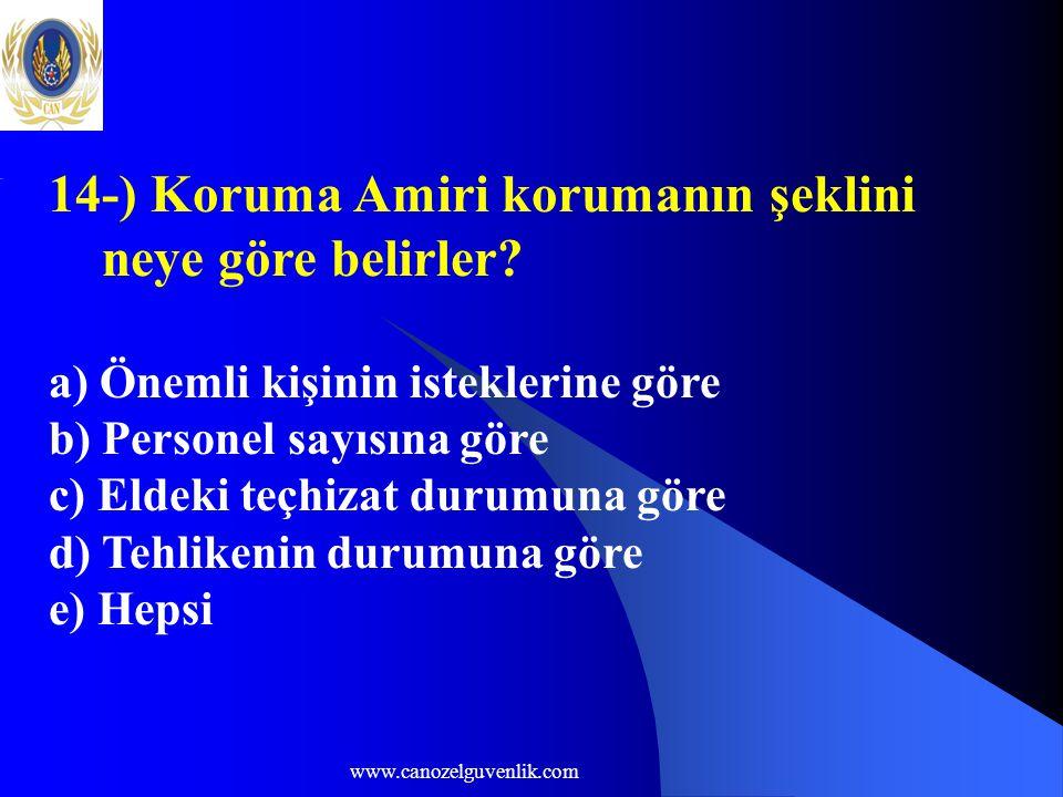 www.canozelguvenlik.com 14-) Koruma Amiri korumanın şeklini neye göre belirler.