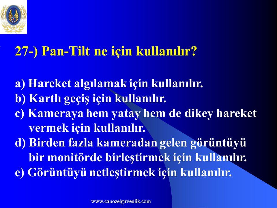 www.canozelguvenlik.com 27-) Pan-Tilt ne için kullanılır.