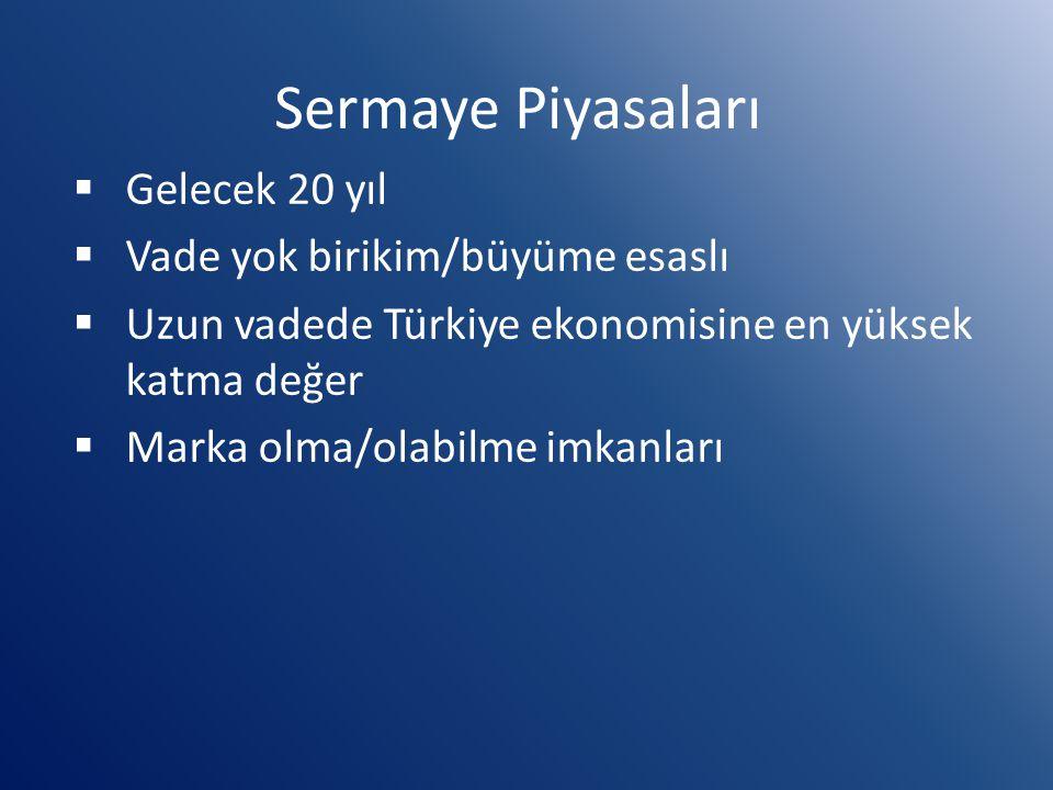 Sermaye Piyasaları  Gelecek 20 yıl  Vade yok birikim/büyüme esaslı  Uzun vadede Türkiye ekonomisine en yüksek katma değer  Marka olma/olabilme imk