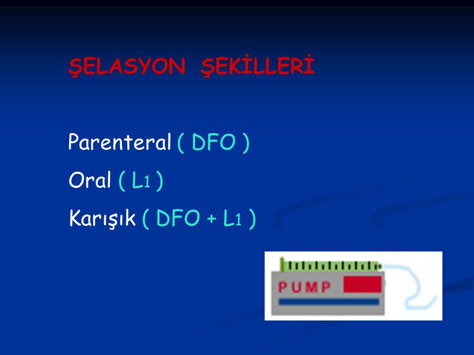 ŞELASYON ŞEKİLLERİ Parenteral ( DFO ) Oral ( L 1 ) Karışık ( DFO + L 1 )