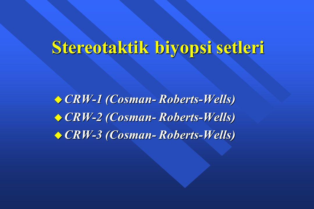 Stereotaktik biyopsi setleri u CRW-1 (Cosman- Roberts-Wells) u CRW-2 (Cosman- Roberts-Wells) u CRW-3 (Cosman- Roberts-Wells)